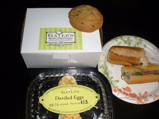 Gayle's Bakery & Rosticceria : nice little sandwiches, yummy chocolate chip cookies, good deviled eggs.