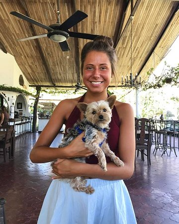 Hotel Paraiso del Cocodrilo: A Hotel intern - Ester - holding my little 'Poppy'!