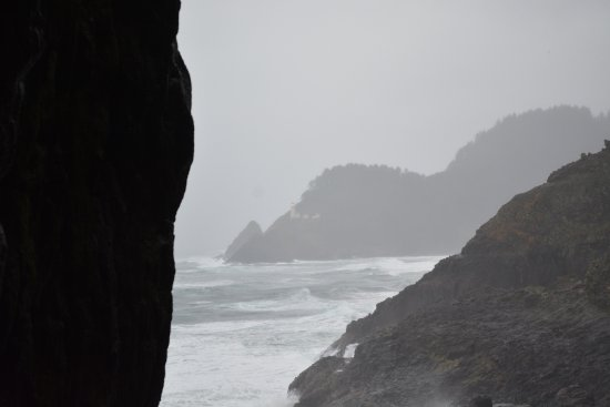 Sea Lion Caves: view up the coast to the lighthouse (very wet and wild day)
