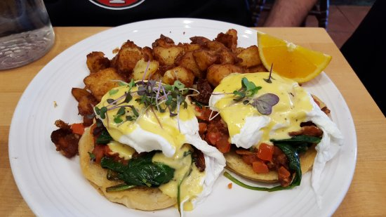 Mymy: Pulled pork scramble and BLT Benedict