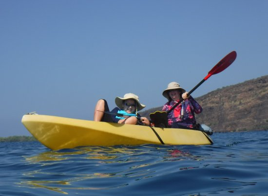 Kealakekua, HI: My son learning to kayak.