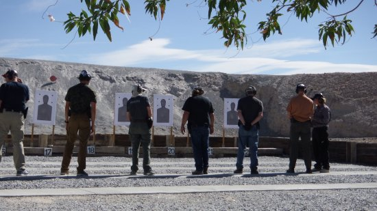 Pahrump, NV: One of the many ranges at Front Sight with students from the Defensive Handgun course.