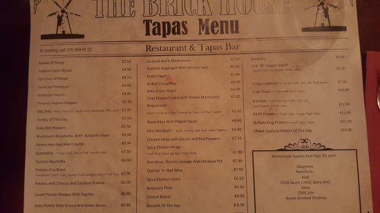 Skerries, İrlanda: Tapas menu and prices