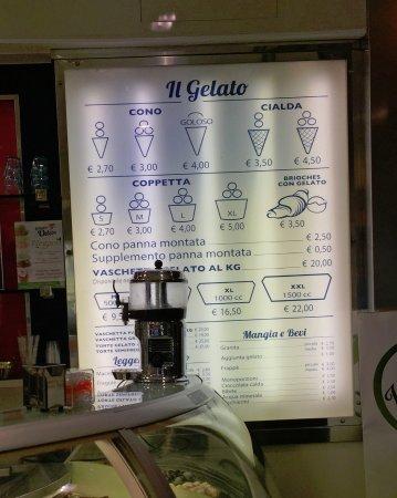 listino prezzi - Foto di Gelateria Odeon Marghera, Milano - TripAdvisor