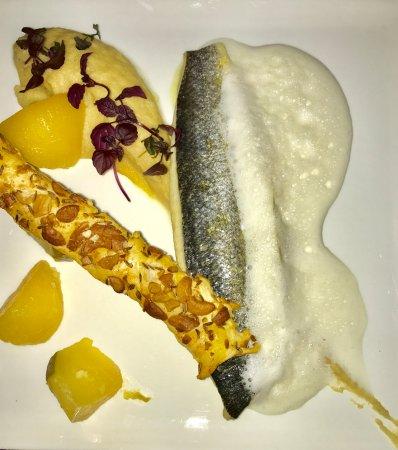 Montbrison, Francia: Filet de Bar, polenta crémeuse céleri, rutabaga, écume arachide grillée, shiso, feuilletés cajou