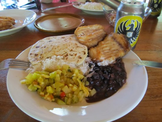 Los Campesinos Ecolodge: Lunch of fish, beans, rice, vegetables, and cerveza