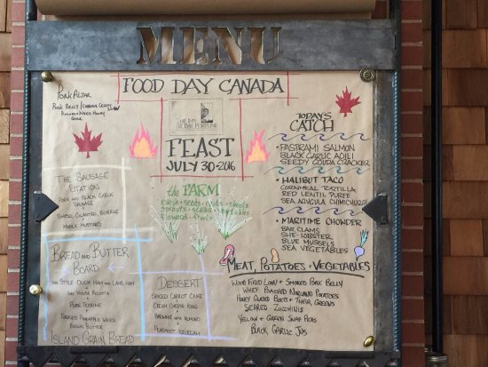 Bay Fortune, Canadá: The Feast - our menu for the evening