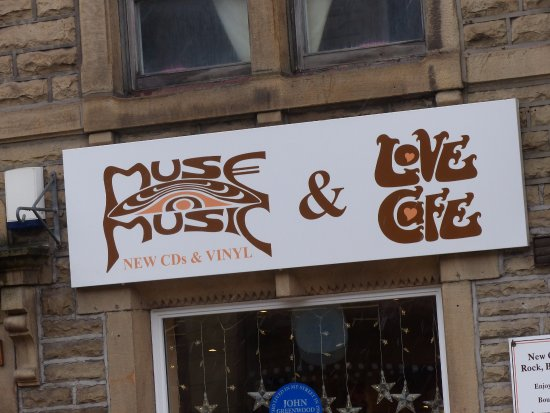 Muse Music and Love Cafe: External sign highlighting what is on offer inside