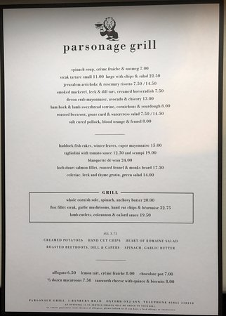 The Parsonage Bar & Grill: Parsonage Grill Menu served daily 12pm to 11pm