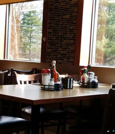 A typical table at the hanover Eatery. Booths are definitely available.