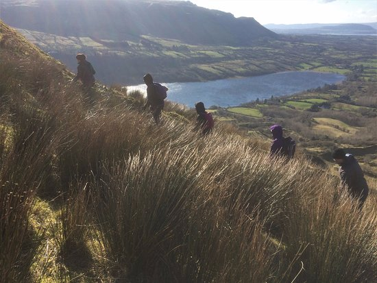 County Sligo, Ireland: Hikers enjoying a great day high above Glencar lake on Valentines weekend special event.