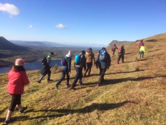 County Sligo, Ireland: lots of action during Valentines Weekend Hike overlooking Glencar Valley and Lake.