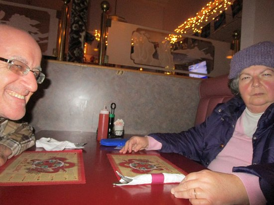 North Attleboro, MA: Louis and I waiting for our meals.
