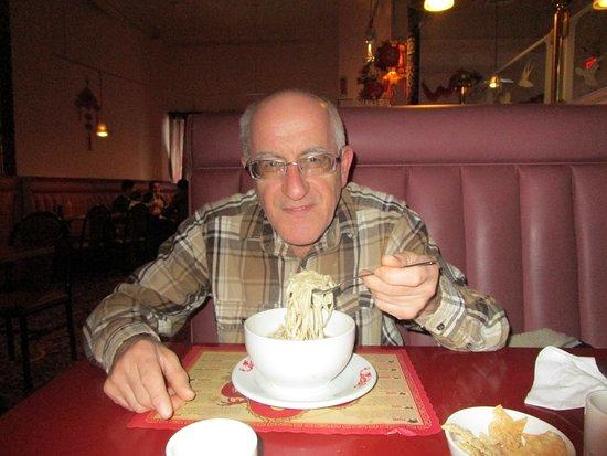 North Attleboro, MA: Louis eating his meal at Dragon Garden.