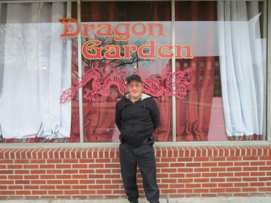 North Attleboro, MA: Louis standing in front of Dragon Garden.
