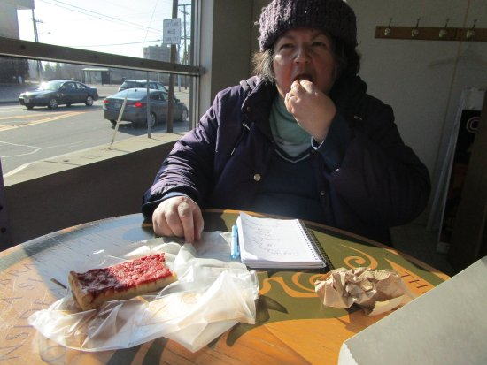 Rumford, RI: That is me eating our pizza.