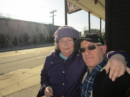 Rumford, RI: Louis and I outside of Crugnale Bakery.