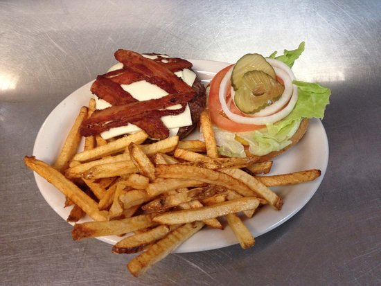Newport, TN: Bacon cheeseburger with fresh-cut fries looks delicious