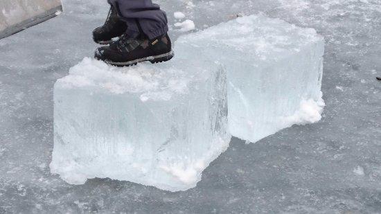 poco distante da Brusago: stratto ghiaccio del Lago di Serraia (ghiacciato) a Baselga di Piné
