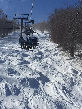 Mount Sunapee, NH: Snowbowl Express Lift Line moguls