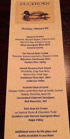 Shallow Shaft Restaurant: The Duckhorn Wineries wine pairing dinner menu