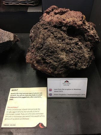 Volcano House: Rocks from the volcano exhibition display