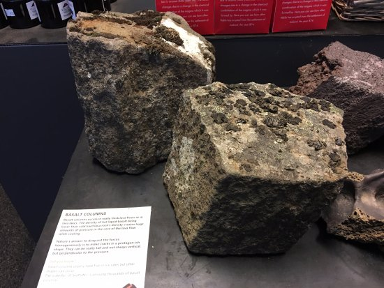 Volcano House: Rocks from the volcano exhibition display - basalt