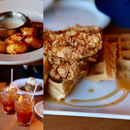 Ellison Bay, WI: Cheese curds, old fashions with maple syrup, and chicken & waffles with bourbon maple syrup....