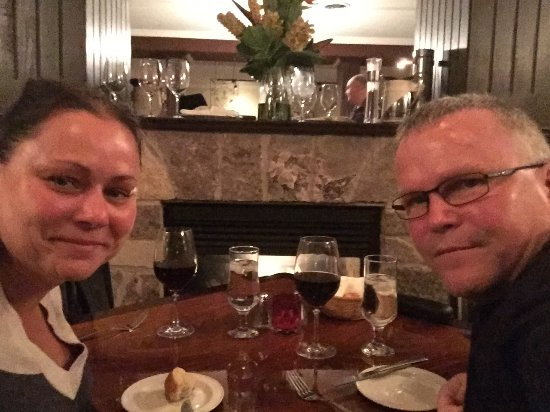 Napa Grille and Wine Den : Dinner in front of the fire place and special Birthday desert