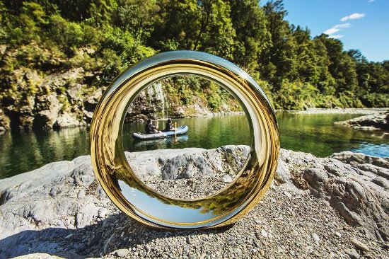 Havelock, New Zealand: The 1 ring photo of  Director Shane and companion paddling past the same waterfall as the dwarve