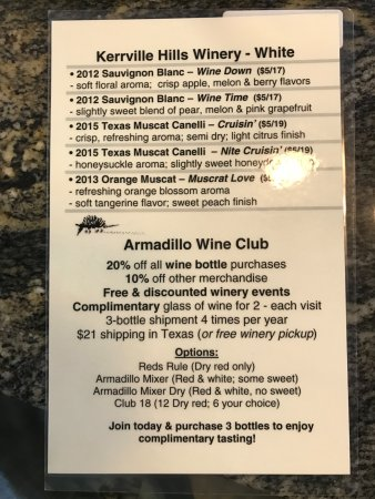 Kerrville Hills Winery: White Wines.