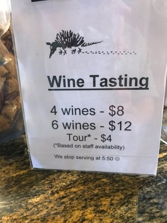 Kerrville Hills Winery: Tasting Prices Feb 2017