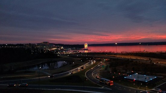 Oxon Hill, MD: A view from the MGM complex of National Harbor and the Big Wheel at sunset.
