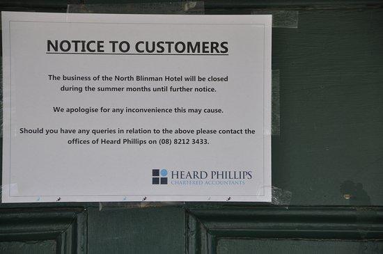 Blinman, Australia: Closure notice