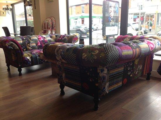 Aromas Cafe: Colourful Sofas At Aromas Coffee Shop, Leyland