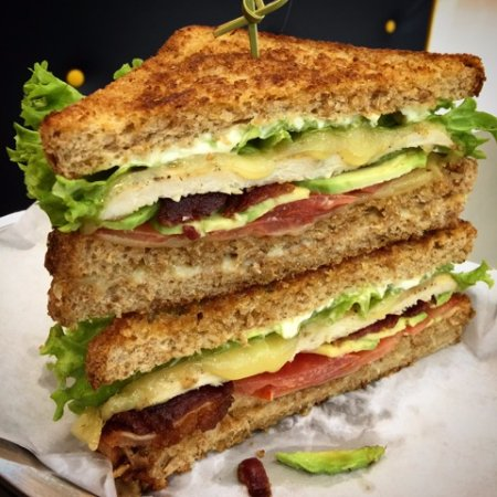Sandwich Guys Club Sandwich Grilled Chicken Breast Cheese Bacon Lettuce