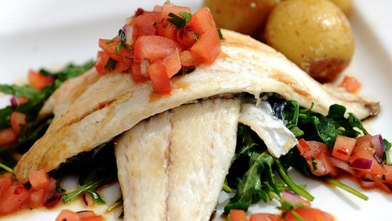 The Conservatory at the Melbreak - Restaurant: Seabass  on wilted greens