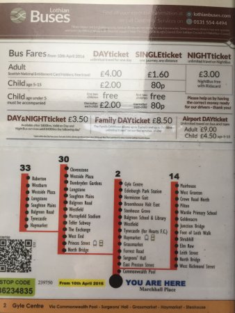 Hotel Ceilidh-Donia: Explicações, nas paradas, de como utilizar o transporte público em Edimburgo