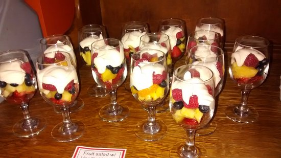 New Prague, MN: Fruit and yogurt parfait in a wine glass