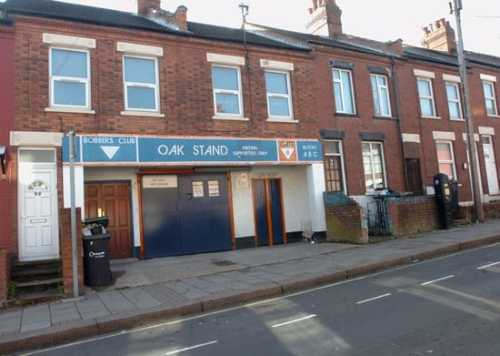 Luton, UK: The Oak Road Stand entrance for away supporters