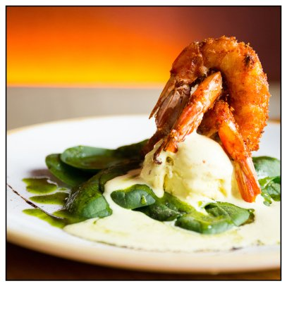 Gilda by Belgious : Our fusion tapa of crispy shrimps on top of curry ice cream