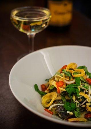 Marie Laveau: Sea Bream, Japanese salsa verde, Siracha fried onions, thai basil, coriander and much more!