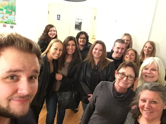 """Crystal Lake, IL: A pre show selfie with the whole group, & after show selfie with Nigel & Sue for the """"VIP Experi"""