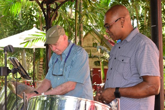 Saint Peter Parish, Barbados: St. Nicholas Abbey - steel drummer with assistant