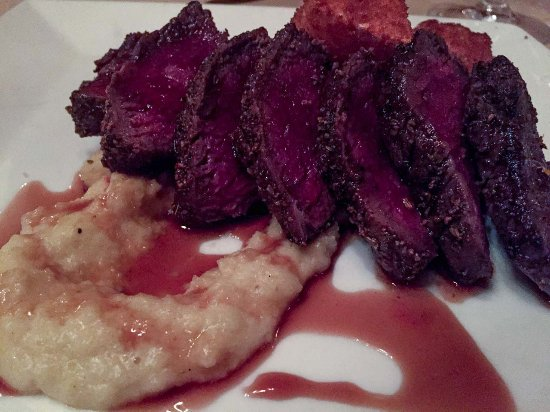 Montchanin, DE: Fennel Crusted Venison with white chocolate corn palenta