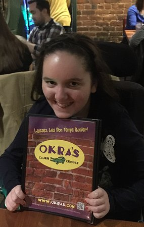 Okra's Cajun Creole: Ava loving her seafood gumbo and oysters