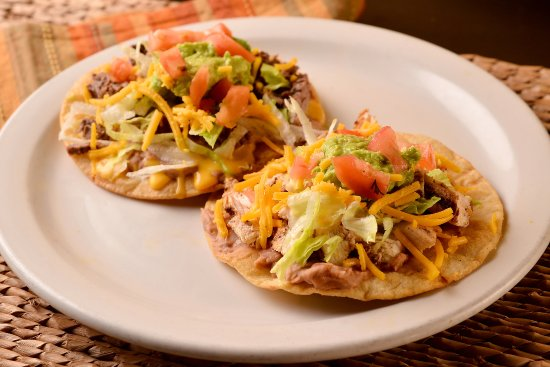 Chicken Beef Tostadas Two Crunchy Corn Tortillas Topped With Beans Queso Guacamole And Chee Picture Of Fajita Pete S Pearland Tripadvisor