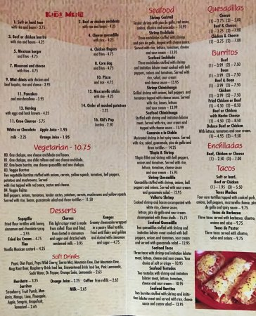 Park Rapids, MN: Menu pictures taken on February 2017.