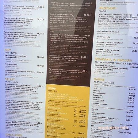 Brovaria: menu