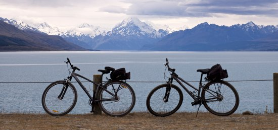 We rode from Cycle Journey's base at Twizel, to lake Pukaki and back in the day. That's Mt Cook